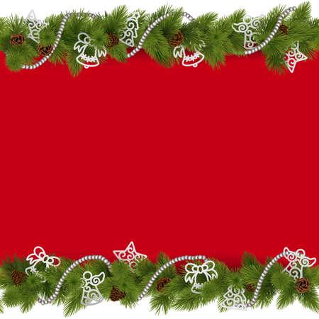 Ilustración de Vector Christmas Border with Beads isolated on white background - Imagen libre de derechos
