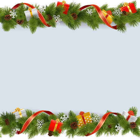 Ilustración de Vector Christmas Border with Gifts isolated on white background - Imagen libre de derechos