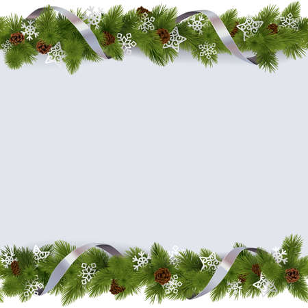 Ilustración de Vector Christmas Border with Snowflakes isolated on white background - Imagen libre de derechos