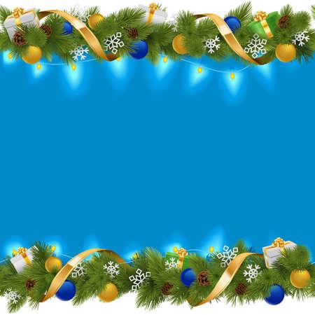 Ilustración de Vector Blue Christmas Border with Garland isolated on white background - Imagen libre de derechos