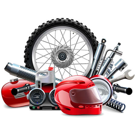 Vector Motorcycle Spares Concept isolated on white background
