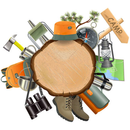 Illustration pour Wooden Board with Camping Accessories isolated on white background - image libre de droit