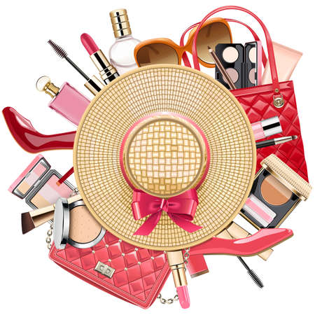 Illustration pour Fashion Concept with Wicker Hat isolated on white background. - image libre de droit