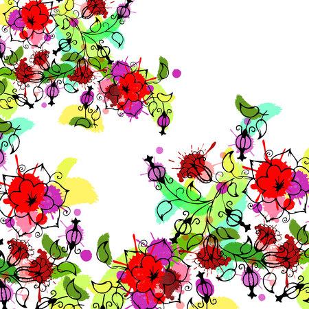Illustration for floral, flower, spring, summer, background, botanical, garden, art, nature - Royalty Free Image