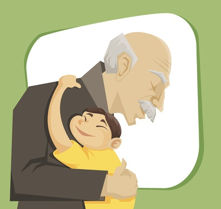Illustration for grandfather and grandchild gives each other family hugs - Royalty Free Image