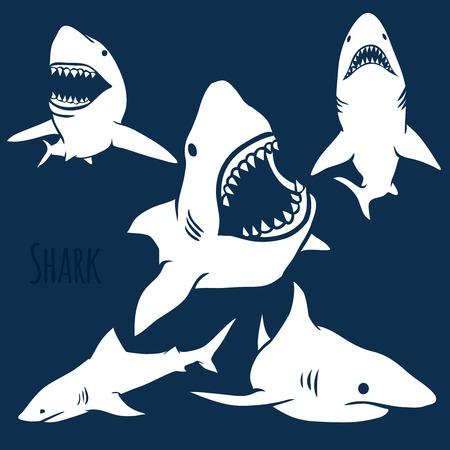 Ilustración de Danger Shark silhouettes in the deep blue set. Vector - Imagen libre de derechos