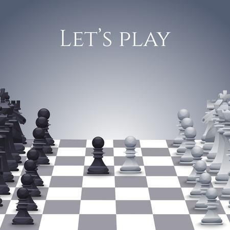 Illustration pour Vector Chess Figures on board, black and white. Illustration - image libre de droit