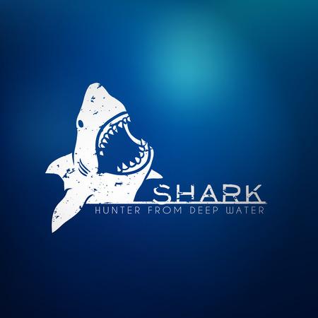 Ilustración de Shark concept logo with blur background. Vector illustration - Imagen libre de derechos