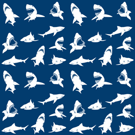 Ilustración de Sharks silhouettes seamless pattern. white on blue Background. Vector illustration - Imagen libre de derechos