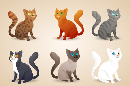 Ilustración de Set of cute cartoon cats with different colored fur and type of coat, breeds.  - Imagen libre de derechos