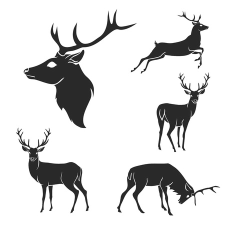 Ilustración de Set of black forest deer silhouettes. Suitable for logo, emblem, pattern, typography etc. Isolated black on white background. Vector illustration - Imagen libre de derechos