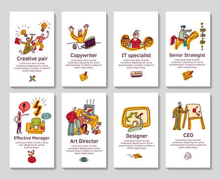 Illustration pour Set with creative profession  business card or banners with hand drawn doodles icons. Color vector illustration. - image libre de droit