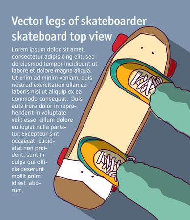 Illustrazione per Young men legs of skateboarder skateboard top view. Color vector illustration. EPS8 - Immagini Royalty Free