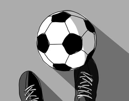 Illustrazione per Football player and soccer ball top view grayscale. Vector illustration. EPS8 - Immagini Royalty Free