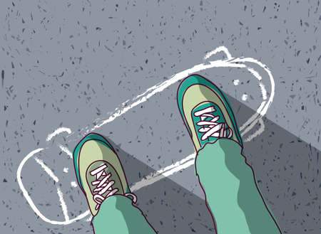 Illustrazione per skateboard painted on pavement and man feet top view. Color vector illustration. EPS8 - Immagini Royalty Free