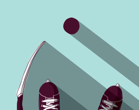 Illustrazione per Ice hockey skates stick and puck top view. Color vector illustration. EPS8 - Immagini Royalty Free