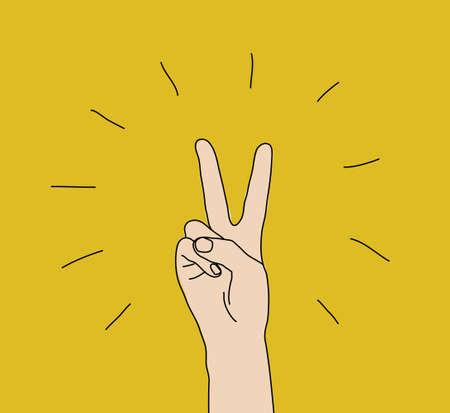 Illustrazione per Hand victory gesture sign win expression symbol - Immagini Royalty Free