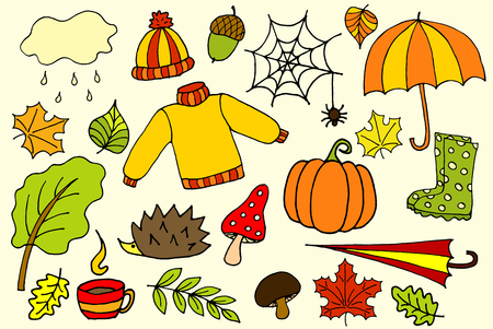 Illustration for Hand drawn Sketch vector doodle cartoon set of objects and symbols on the autumn. - Royalty Free Image