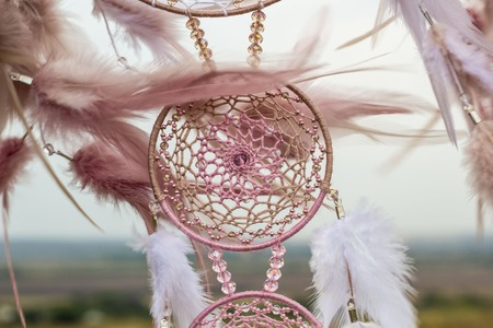 Photo for Dream catcher with feathers threads and beads rope hanging. Dreamcatcher handmade - Royalty Free Image