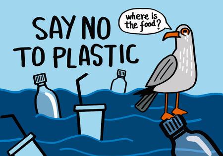 Ilustración de Say no to plastic. Motivational phrase. Vector illustration with lettering. - Imagen libre de derechos