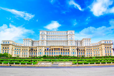 Photo for Beautiful view of the Palace of Parliament in Bucharest, Romania on a sunny day - Royalty Free Image