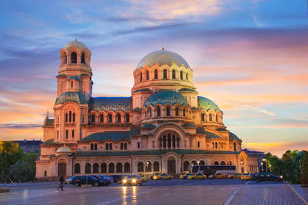 Photo pour A beautiful view of the Alexander Nevsky Cathedral in Sofia, Bulgaria - image libre de droit