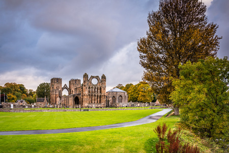 Photo for Elgin Cathedral in Autumn, which is a  medieval ruin and was built on the banks of the River Lossie in the thirteenth century - Royalty Free Image