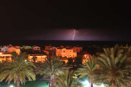 Lightening strike over the sea in Coral Bay