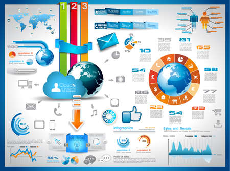Illustration for Infographic elements - set of paper tags, technology icons, cloud cmputing, graphs, paper tags, arrows, world map and so on. Ideal for statistic data display. - Royalty Free Image