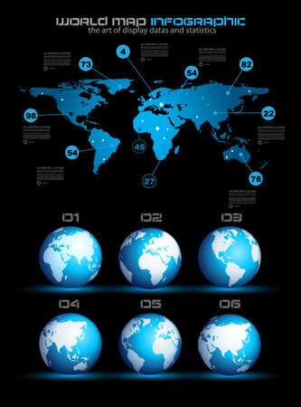 Infographic layout template with world maps. Ideal for global statistics and for every kind of data visualization. Delicate shadows and high costrast colours.