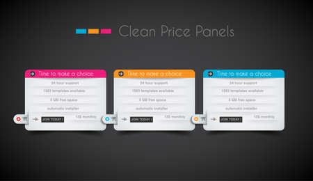 Illustration pour Web price shop panel with space for text and buy now button. Clean design and uniform colors with delicate shadows. Ideal for ecommerce cart. - image libre de droit