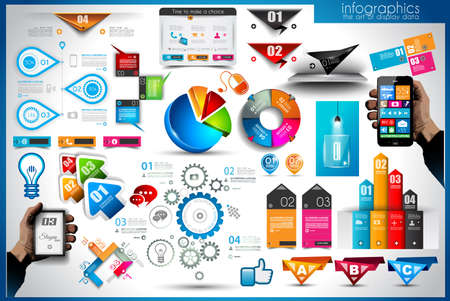 Illustration pour Infographic elements - set of paper tags, technology icons, cloud cmputing, graphs, paper tags, arrows, world map and so on. Ideal for statistic data display. - image libre de droit