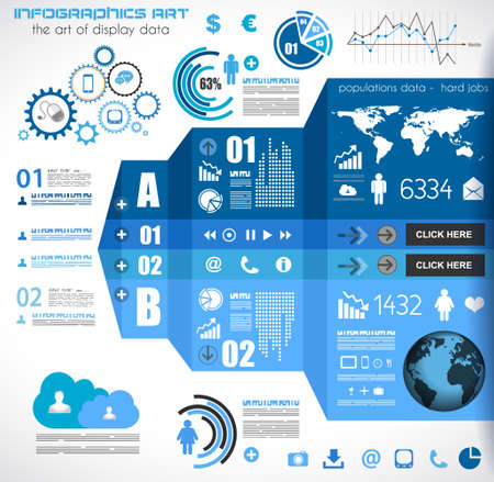 Ilustración de Infographic elements - set of paper tags, technology icons, cloud cmputing, graphs, paper tags, arrows, world map and so on. Ideal for statistic data display. - Imagen libre de derechos