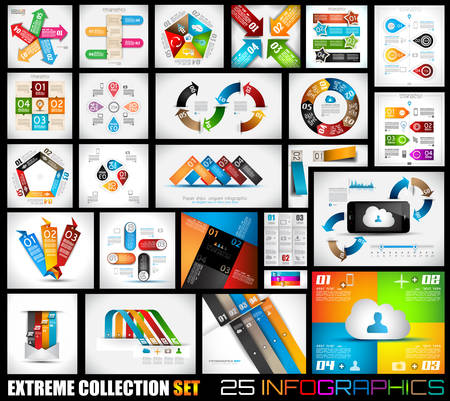 Ilustración de Extreme Collection of 25 quality Infographics background. A lot of different templates ready to display your data. - Imagen libre de derechos