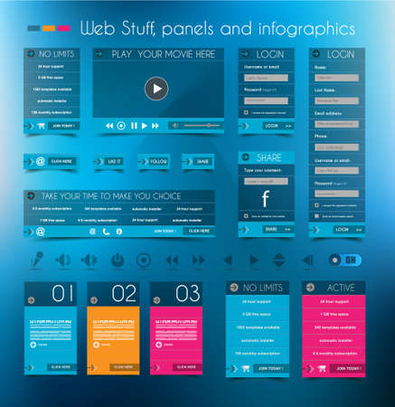 Illustration pour Web Design Stuff: price panels, Login forms, headers, footers, icons, infographic panels and a multimedia movie player. - image libre de droit