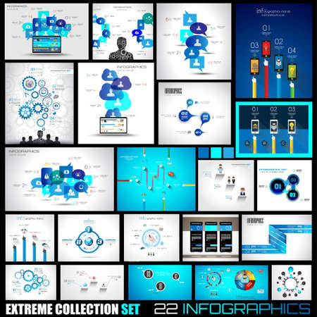 Ilustración de Collection of 22 Infographics for social media and clouds. Flat style UI design elements for your business projects, seo diagrams and solution ranking presentazions - Imagen libre de derechos
