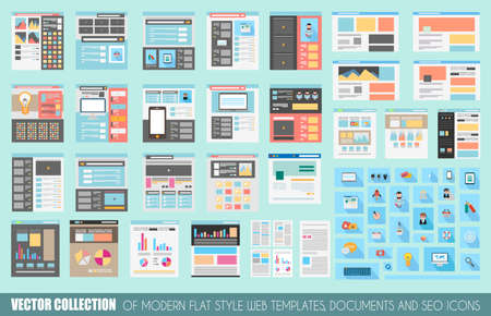 Ilustración de Mega Collection of Flat Style Website templates, Sheets, Icons, Social Network layouts, generic blogs, video portals and so on. - Imagen libre de derechos