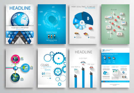 Photo for Set of Flyer Design, Web Templates. Brochure Designs, Technology Backgrounds. Mobile Technologies, Infographic  ans statistic Concepts and Applications covers. - Royalty Free Image