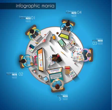 Illustration pour Infographic teamwork and brainsotrming with Flat style. A lot of design elements are included: computers, mobile devices, desk supplies, pencil,coffee mug, sheeets,documents and so on - image libre de droit