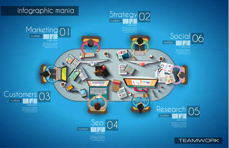 Ilustración de Infographic teamwork and brainsotrming with Flat style. A lot of design elements are included: computers, mobile devices, desk supplies, pencil,coffee mug, sheeets,documents and so on - Imagen libre de derechos
