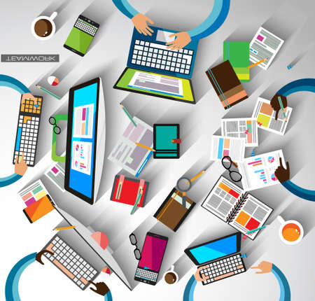 Illustration for Infographic teamwork and brainsotrming with Flat style. A lot of design elements are included: computers, mobile devices, desk supplies, pencil,coffee mug, sheeets,documents and so on - Royalty Free Image