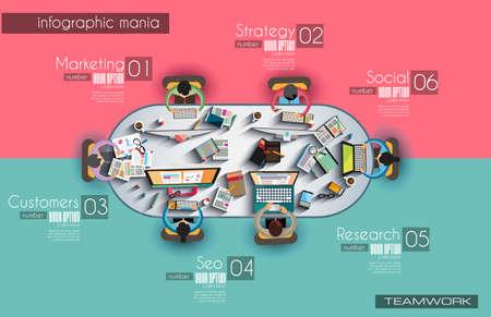 Ilustración de Infographic template with flat UI icons  - Imagen libre de derechos