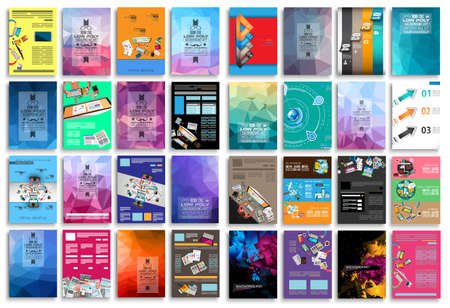 Illustration pour Set of Flyers, background, infographics, low polygon backgrounds, teamwok concepts and so on. 16 pieces with different styles and colors. - image libre de droit