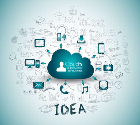 Illustration pour Cloud Computing with Business doodles Sketch background: infographics vector elements isolated, . It include lots of icons included graphs, stats, devices,laptops, clouds, concepts and so on. - image libre de droit