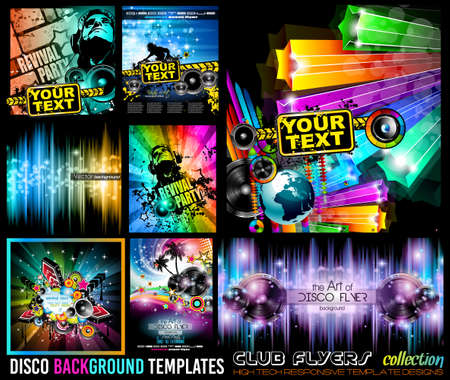 Ilustración de Big Set of Disco Club Flyer Template for your Music Nights Event. Ideal for TEchno Music, Hip Hop and House Performance Posters and flyers for Discotheques and night clubs. - Imagen libre de derechos
