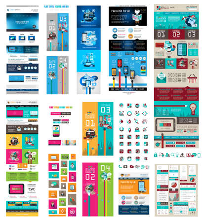 Photo pour Mega Collection of Website templates, web headers, Footers, menu, drop menu, website icons, design elements for web pages, panels, buttons and so on. - image libre de droit