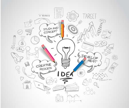 Illustration pour idea concept with light bulb and doodle sketches infographic icons. - image libre de droit