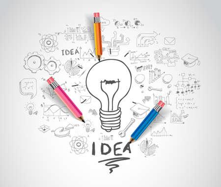 Illustration pour idea concept with light bulb and doodle sketches infographic icons. - image libre de droit
