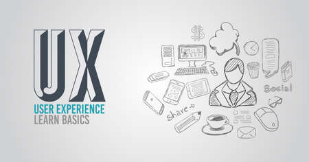 Illustration pour UX User Experience Background concept with Doodle design style :user interfaces, guidelines, solutions, creative thinking. Modern style illustration for web banners, brochure and flyers. - image libre de droit