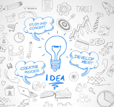 Illustration pour idea concept with light bulb and doodle sketches infographic icons hand drawn.Doodle design style :finding solution, brainstorming, creative thinking. Modern style illustration for web banners, brochure and flyers. - image libre de droit